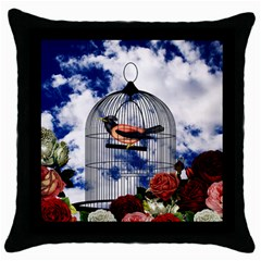 Vintage Bird In The Cage  Throw Pillow Case (black) by Valentinaart