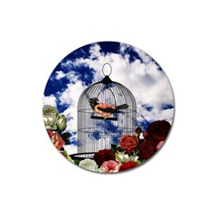 Vintage Bird In The Cage  Magnet 3  (round) by Valentinaart