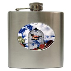 Vintage Bird In The Cage  Hip Flask (6 Oz) by Valentinaart