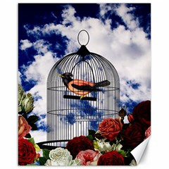 Vintage Bird In The Cage  Canvas 16  X 20   by Valentinaart