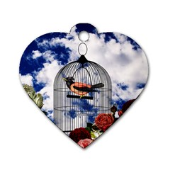 Vintage Bird In The Cage  Dog Tag Heart (one Side) by Valentinaart