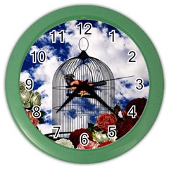 Vintage Bird In The Cage  Color Wall Clocks by Valentinaart