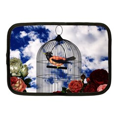 Vintage Bird In The Cage  Netbook Case (medium)  by Valentinaart