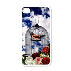 Vintage Bird In The Cage  Apple Iphone 4 Case (white) by Valentinaart