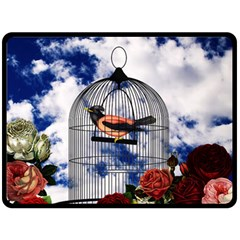 Vintage Bird In The Cage  Double Sided Fleece Blanket (large)  by Valentinaart