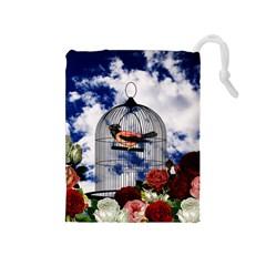 Vintage Bird In The Cage  Drawstring Pouches (medium)  by Valentinaart