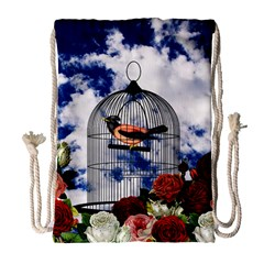 Vintage Bird In The Cage  Drawstring Bag (large) by Valentinaart
