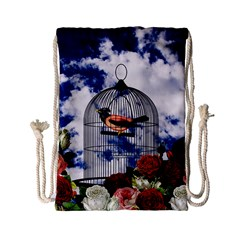 Vintage Bird In The Cage  Drawstring Bag (small) by Valentinaart