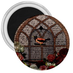 Vintage Bird In The Cage 3  Magnets by Valentinaart