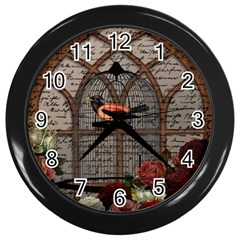 Vintage Bird In The Cage Wall Clocks (black) by Valentinaart