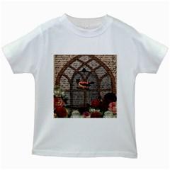 Vintage Bird In The Cage Kids White T Shirts by Valentinaart