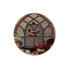 Vintage Bird In The Cage Magnet 3  (round) by Valentinaart