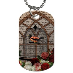 Vintage Bird In The Cage Dog Tag (two Sides) by Valentinaart
