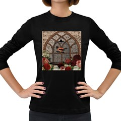 Vintage Bird In The Cage Women s Long Sleeve Dark T Shirts by Valentinaart