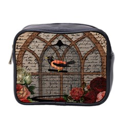Vintage Bird In The Cage Mini Toiletries Bag 2 Side by Valentinaart