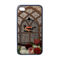 Vintage Bird In The Cage Apple Iphone 4 Case (black) by Valentinaart