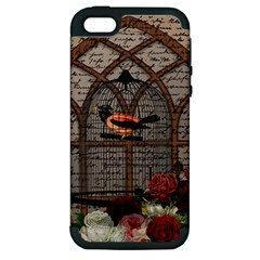 Vintage Bird In The Cage Apple Iphone 5 Hardshell Case (pc+silicone) by Valentinaart