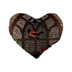 Vintage Bird In The Cage Standard 16  Premium Heart Shape Cushions by Valentinaart