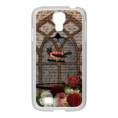 Vintage Bird In The Cage Samsung Galaxy S4 I9500/ I9505 Case (white) by Valentinaart