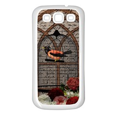 Vintage Bird In The Cage Samsung Galaxy S3 Back Case (white) by Valentinaart