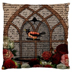 Vintage Bird In The Cage Large Flano Cushion Case (one Side) by Valentinaart