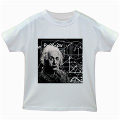 Albert Einstein Kids White T Shirts by Valentinaart