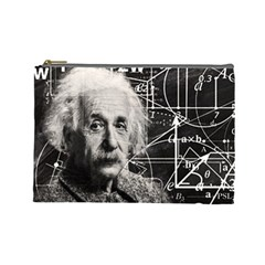 Albert Einstein Cosmetic Bag (large)  by Valentinaart