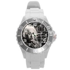 Albert Einstein Round Plastic Sport Watch (l) by Valentinaart
