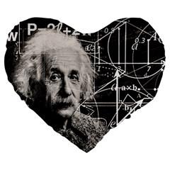 Albert Einstein Large 19  Premium Heart Shape Cushions by Valentinaart