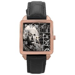 Albert Einstein Rose Gold Leather Watch  by Valentinaart