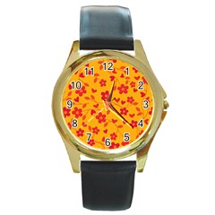 Floral Pattern Round Gold Metal Watch by Valentinaart