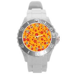 Floral Pattern Round Plastic Sport Watch (l) by Valentinaart