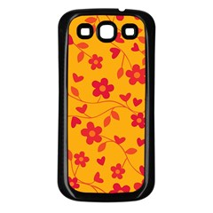 Floral Pattern Samsung Galaxy S3 Back Case (black) by Valentinaart