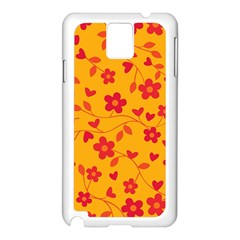 Floral Pattern Samsung Galaxy Note 3 N9005 Case (white) by Valentinaart