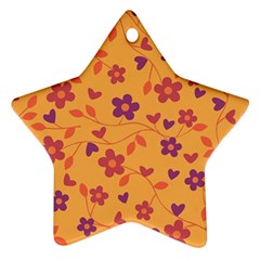Floral Pattern Star Ornament (two Sides) by Valentinaart