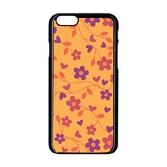 Floral Pattern Apple Iphone 6/6s Black Enamel Case by Valentinaart