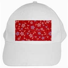 Floral Pattern White Cap by Valentinaart
