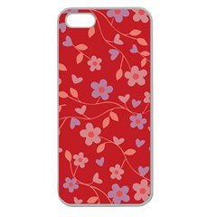Floral Pattern Apple Seamless Iphone 5 Case (clear) by Valentinaart