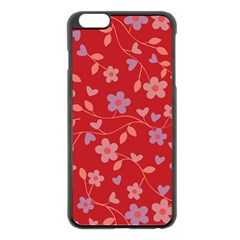 Floral Pattern Apple Iphone 6 Plus/6s Plus Black Enamel Case by Valentinaart