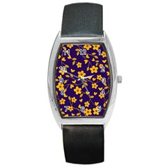 Floral Pattern Barrel Style Metal Watch by Valentinaart