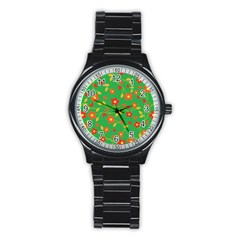 Floral Pattern Stainless Steel Round Watch by Valentinaart