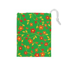Floral Pattern Drawstring Pouches (medium)  by Valentinaart