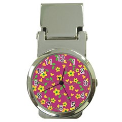 Floral Pattern Money Clip Watches by Valentinaart