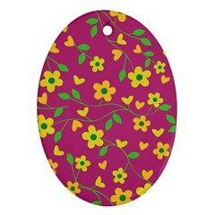 Floral Pattern Oval Ornament (two Sides) by Valentinaart