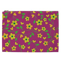 Floral Pattern Cosmetic Bag (xxl)  by Valentinaart