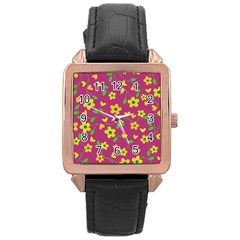Floral Pattern Rose Gold Leather Watch  by Valentinaart