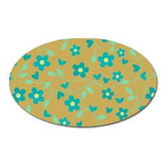 Floral Pattern Oval Magnet by Valentinaart