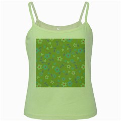 Floral Pattern Green Spaghetti Tank by Valentinaart