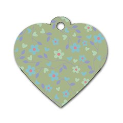 Floral Pattern Dog Tag Heart (two Sides) by Valentinaart