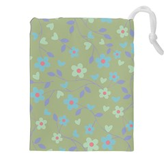 Floral Pattern Drawstring Pouches (xxl) by Valentinaart